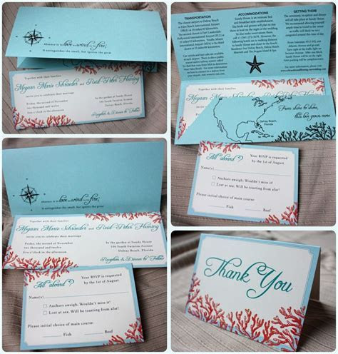 Tiffany Blue, Teal & Red Beach Coral Horizontal Wedding