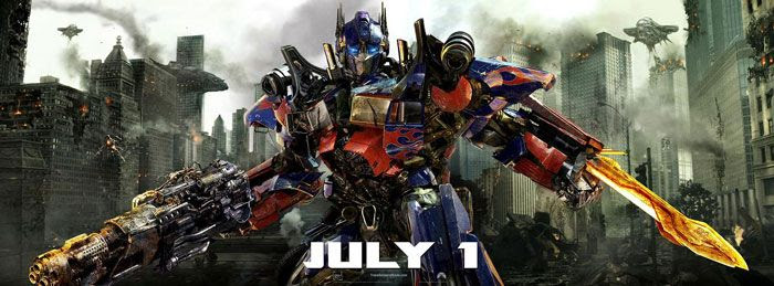 Optimus Prime looking bad-ass in a new banner for TRANSFORMERS: DARK OF THE MOON.