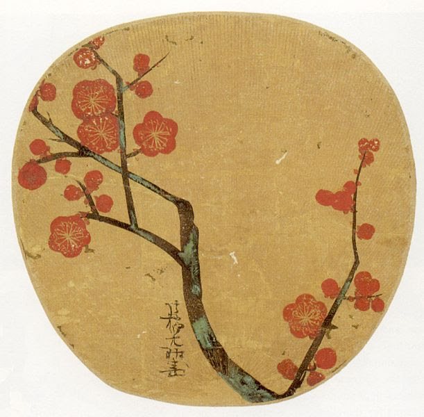 File:'Plum Blossoms', ink and color on gold paper by Ogata Kôrin, Japanese fan, 1702, Honolulu Academy of Arts.jpg