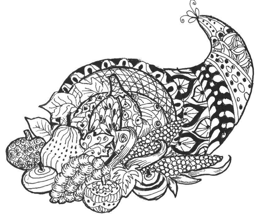 Adult Coloring Page Thanksgiving : Cornucopia 6