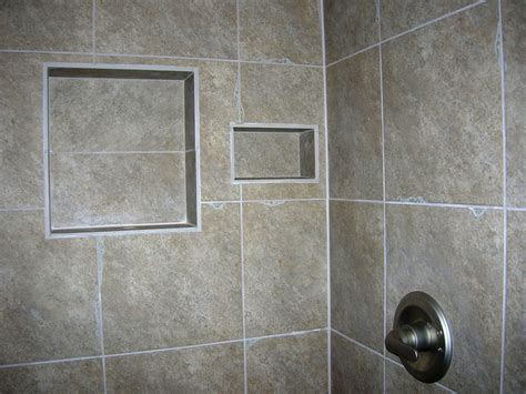 Home Decor: Nice Easy Bathroom Shower Tile Shelves Design With Square Built In