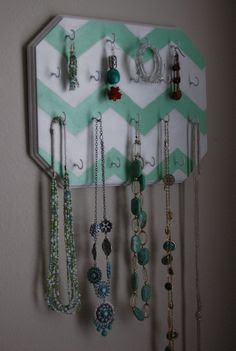 Mint Green Chevron Design Hand Painted Wall Mounted Jewelry Display Rack. $40.00, via Etsy.