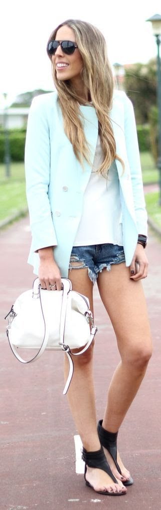 Sheinside Teal Zip Pocket Blazer by Martinas