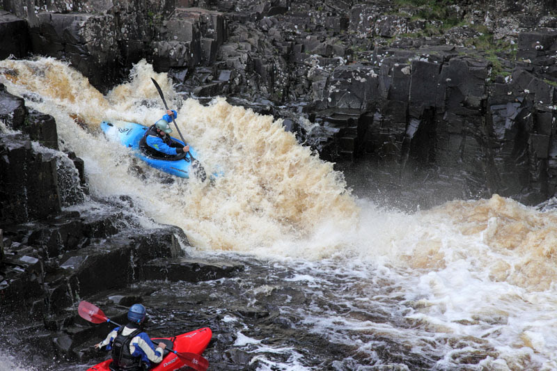 03D-6140 Canoeists on the River Tees at Low Force Upper Teesdale County Durham