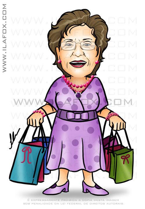 caricatura de uma senhora feliz e de bem com a vida, ilustração by ila fox