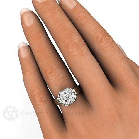 White Sapphire Engagement Ring 3ct Asscher Solitaire Bezel