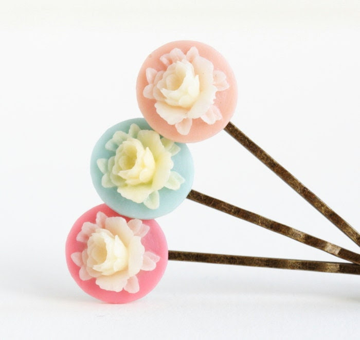 Whimsical Floral Hair Pins,  Pastel, Kids Hair Accessory, Bobby Pins, Blue, Pink, Ivory, Gift Idea For Girl - JacarandaDesigns