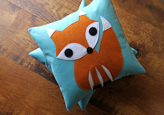Fox Pillows in Pale Aqua!