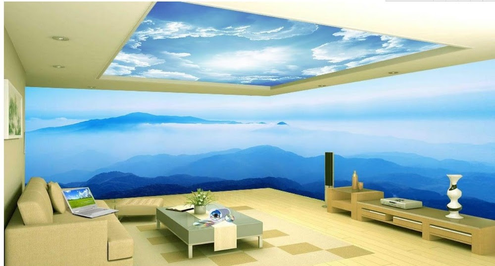 Custom D Wallpaper Murals Sea Sky Space Theme Bedroom