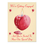 romantic love heart shaped red candle engagement 5x7 paper invitation card