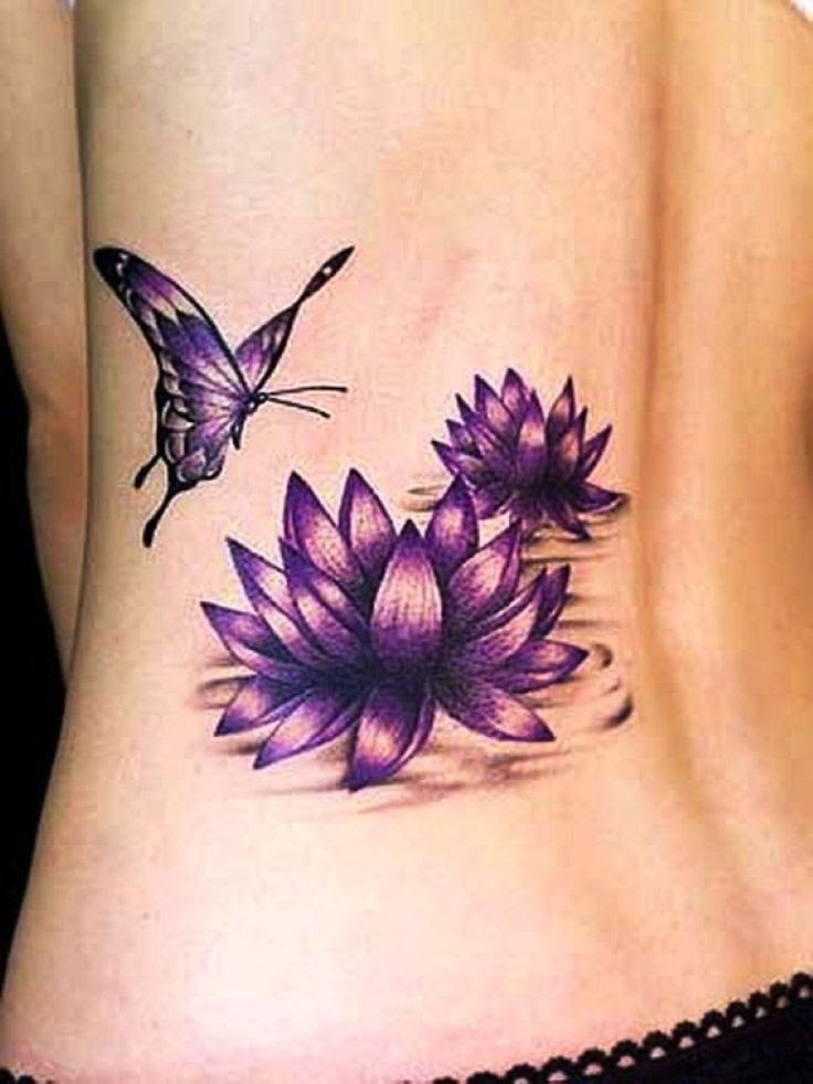 Purple Twin Lotus And Butterfly Tattoo On Back