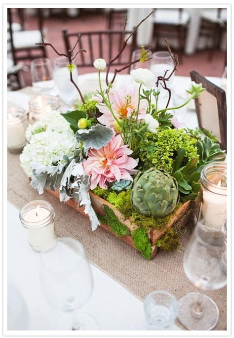 centerpieces in wooden box, filled with white hydrangea