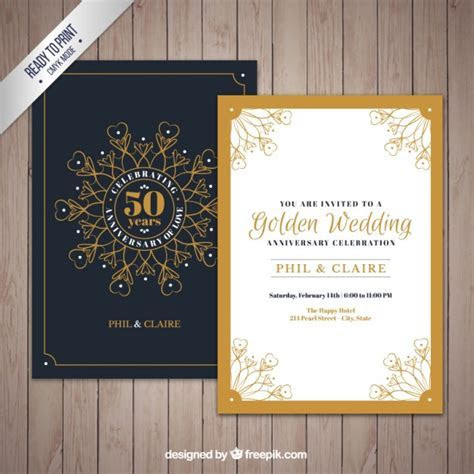 Golden jubilee invitation with ornaments Vector   Free