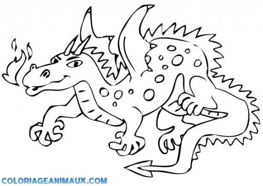 Coloriage Dragon Qui Crache Du Feu à Imprimer