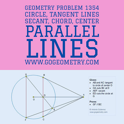 Geometric Art Typography of Geometry Problem 1354: Circle, Tangent Lines, Secant, Chord, Center, Parallel Lines using iPad Apps.