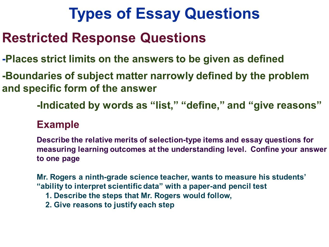how to write short essay questions