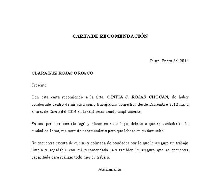 Carta De Trabajo Empleada Domestica R Carta De