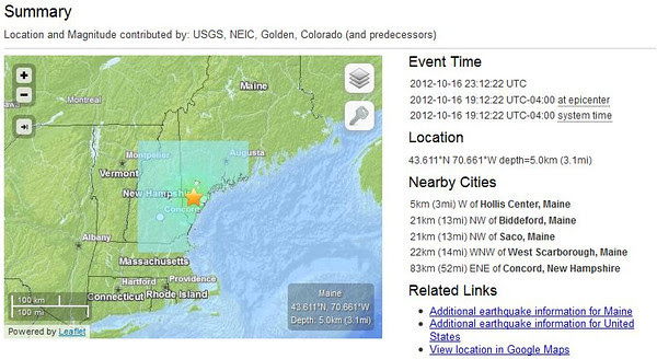 earthquake near Hollis Center, Maine, 16 October 2012