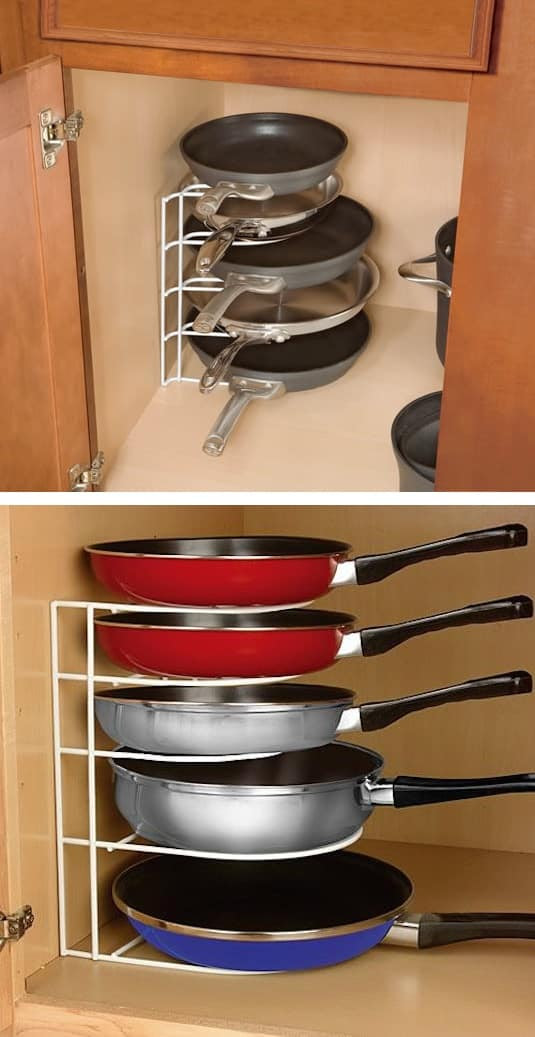 #30. Pan Organizer Rack -- 55 Genius Storage Inventions That Will Simplify Your Life