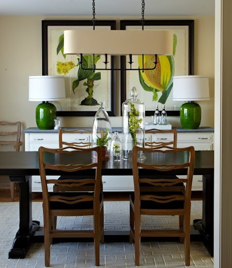 Unique lamp ideas on white dining room buffet  Home Interiors
