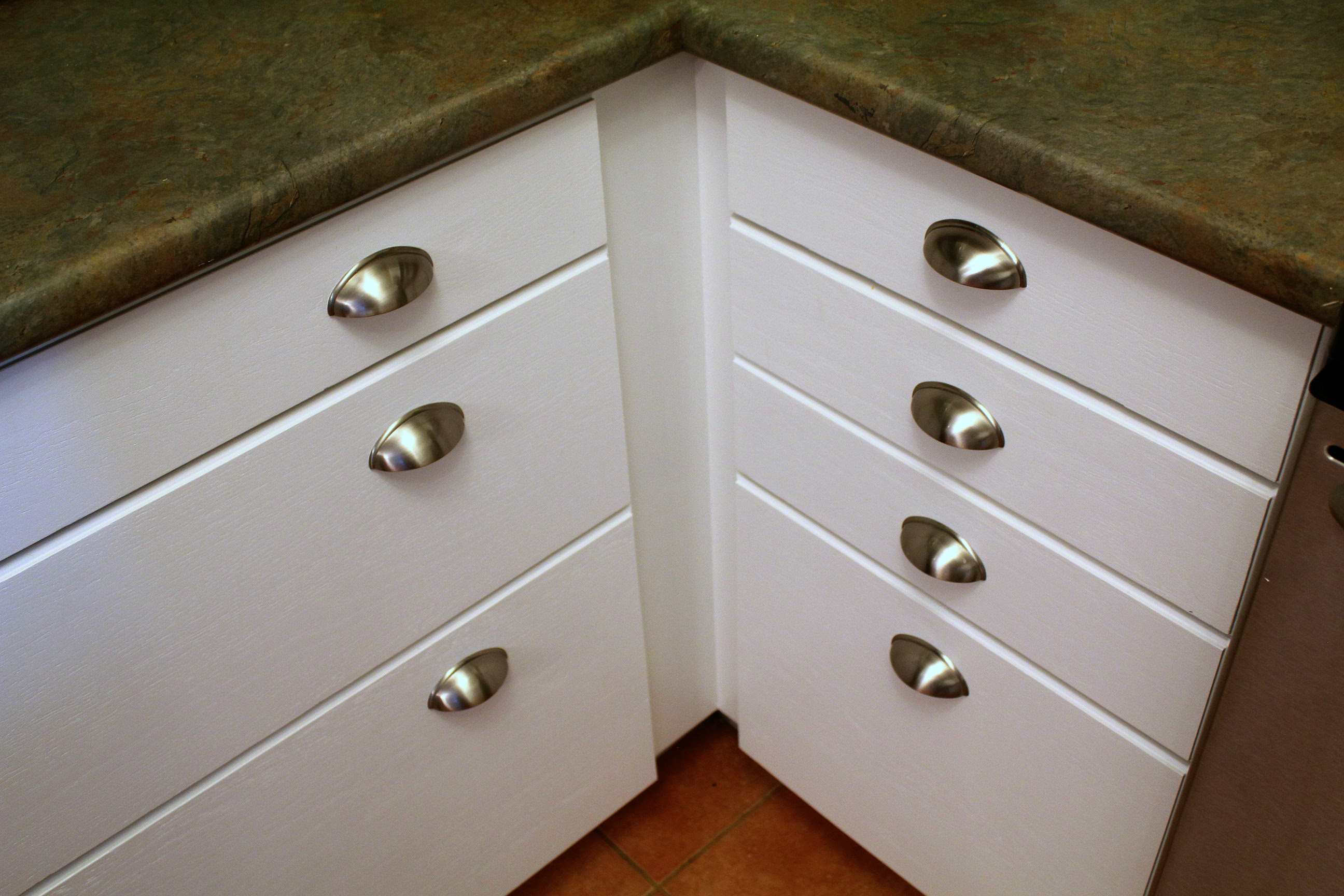 white cabinets brushed nickel cup pulls