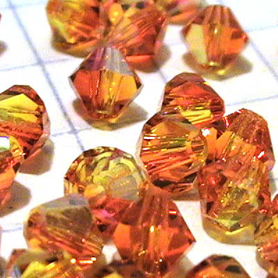27753011454237 Swarovski Bead - 4 mm Faceted Bicone (5301) - Fire Opal AB (36)