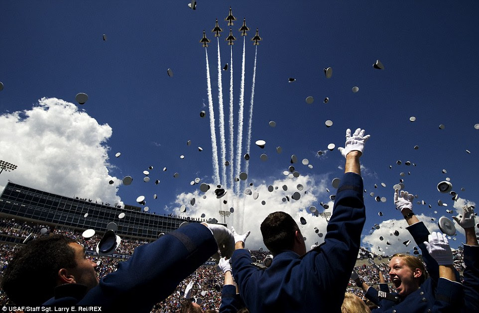 Thunderbirds are go: The U.S. Air Force Thunderbirds fly the Delta formation over Falcon Stadium during the U.S. Air Force Academy graduation ceremony. The flyover marks the first return of the Thunderbirds to Colorado Springs since sequestration last year