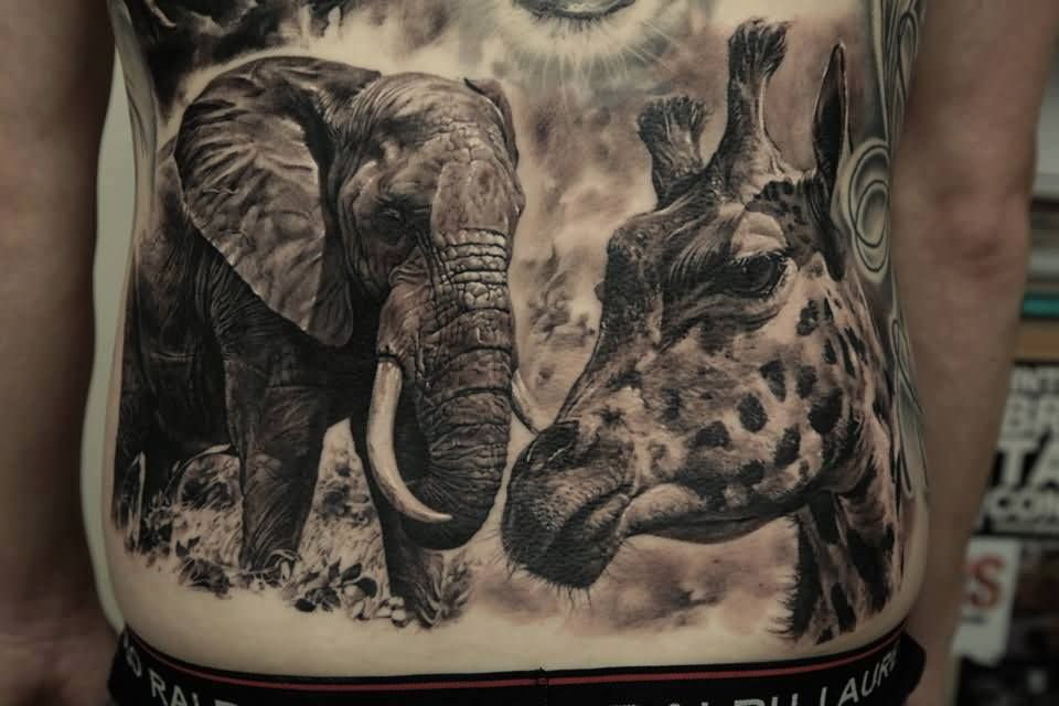 Grey Ink Wild Elephant And Giraffe Tattoos