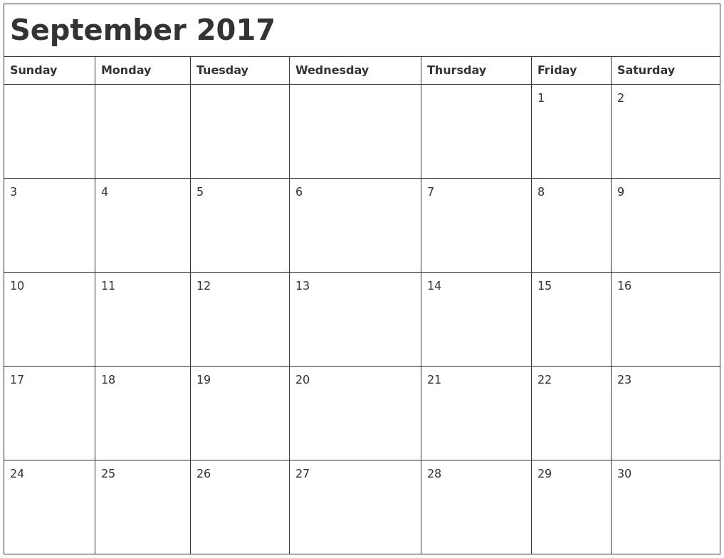 September 2017 Month Calendar PDF39;s