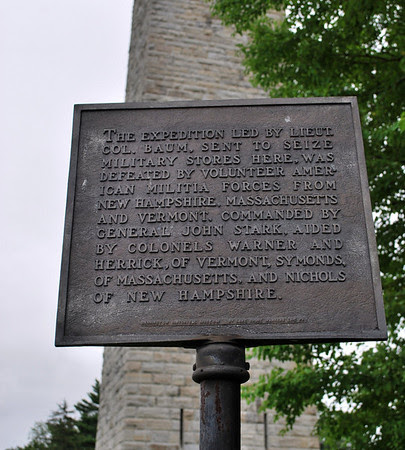 Closer view of the Bennington Battle Monument Plaque