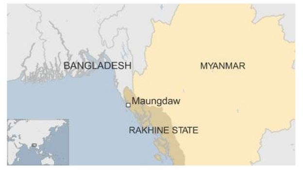 Map showing Maungdaw's location in Rakhine State