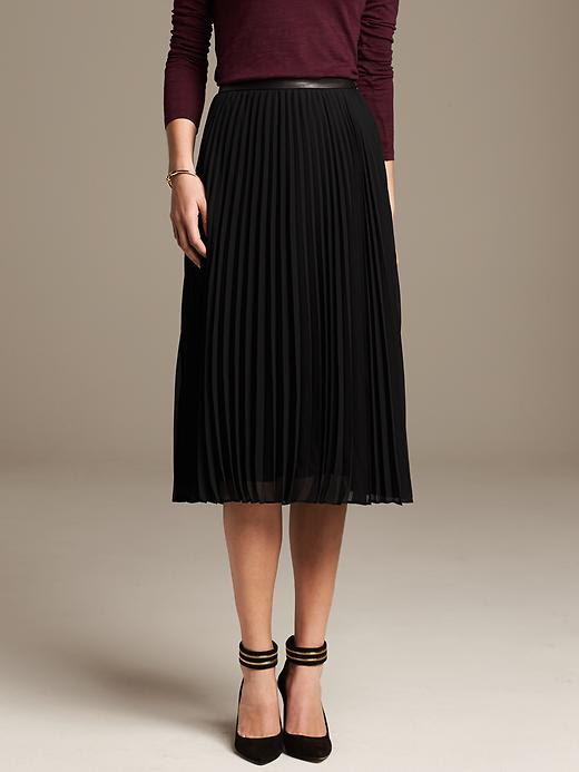 Banana Republic Pleated Chiffon Midi Skirt