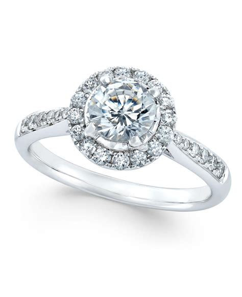 Macy's Diamond Halo Engagement Ring (7/8 Ct. T.w.) In 14k