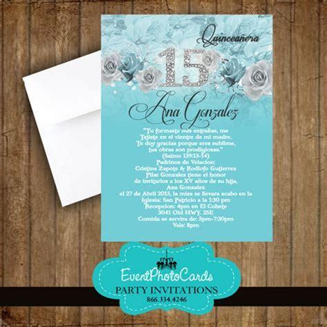 Aqua Floral Mis Quince, Sweet 15th Invites