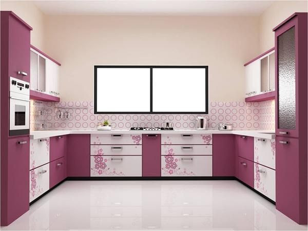 Contemporary Pink Kitchen Cabinets Designs For U Shaped Modular