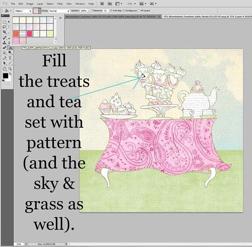 3 TPS_Wonderland_Furniture treats & tea set FILLED with Let's make a picnic paper