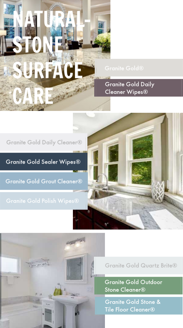 Granite Gold® quickly and easily helps you take care of your natural-stone #GraniteGold #naturalstone