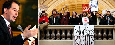 (L-R) Wisconsin Governor Scott Walker (AP); protesters at the Wisconsin State Capitol (AP)