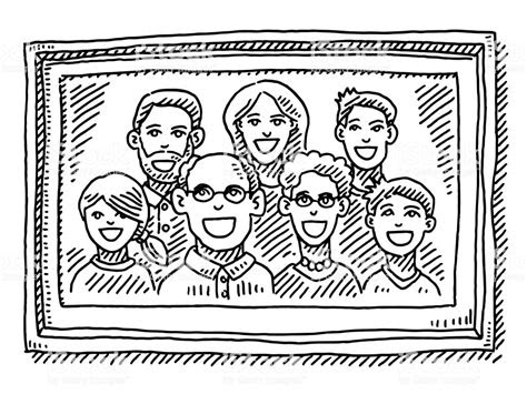 family portrait picture frame drawing stock vector art