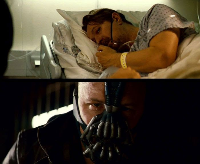 Commissioner Gordon (Gary Oldman) is the victim of rising violence in Gotham City...courtesy of Bane (Tom Hardy) in THE DARK KNIGHT RISES.