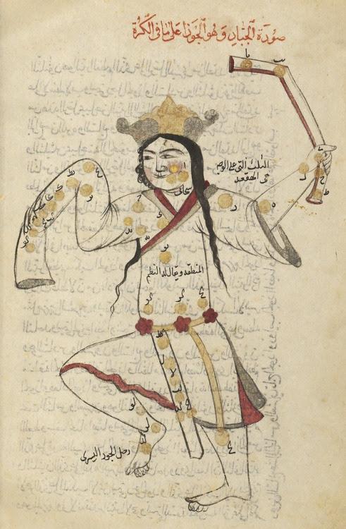 Una página del Suwar al-Kawakib al-Thabita (El Libro de las estrellas fijas) por Abd al-Rahman (903-986 dC). (Biblioteca Nacional de Francia)