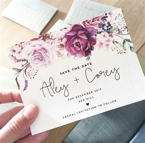 Wedding save the date card THE JENNY design ink hearts