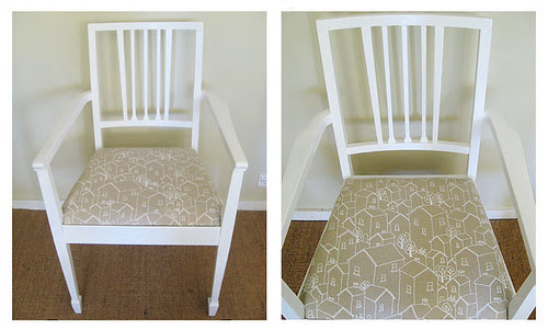 Jacqui's reupholstered Rooftops chair