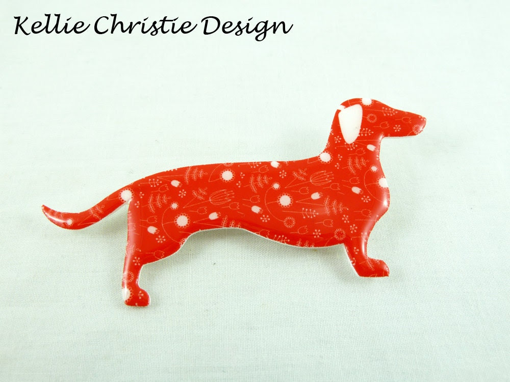 Dachshund Sausage Dog Brooch Red Floral