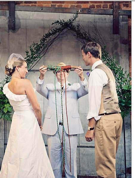Unity Idea; tying the knot; 3 different colored cords
