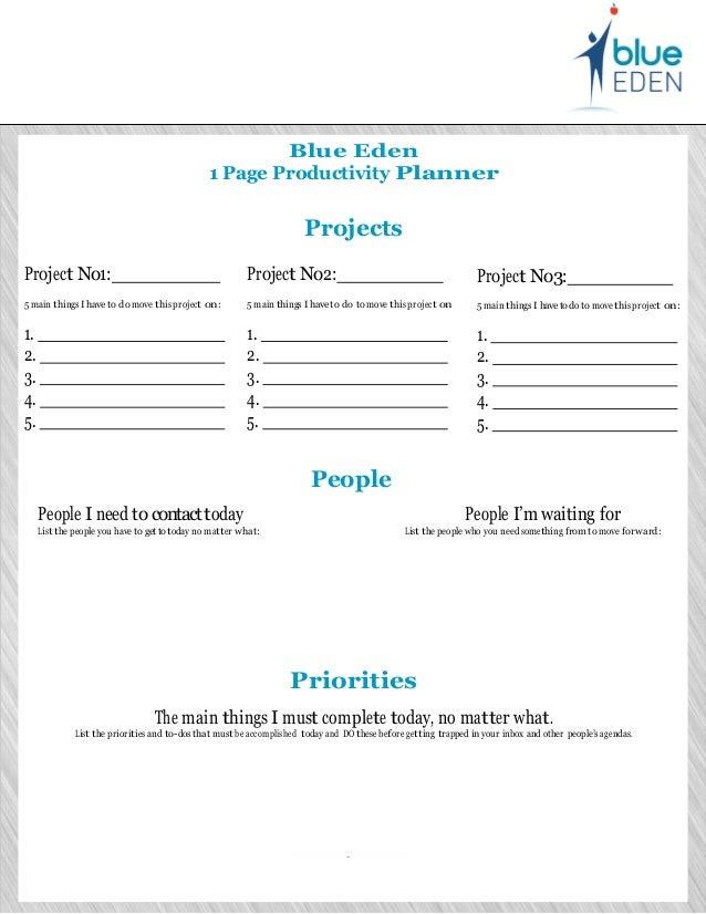 Blue Eden 1 page productivity planner