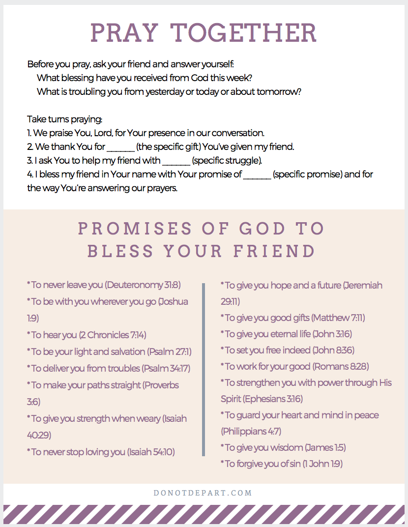 How To Pray With Your Friend Not Just For Your Friend Do Not Depart
