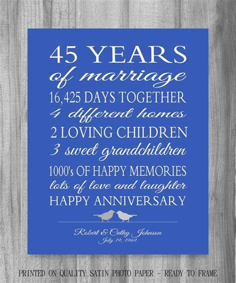 45th Anniversary Gift Parents Sapphire Blue Personalized