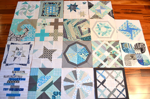 4 x 5 Modern Quilt Bee - Blocks received Q 3, 4 and 1