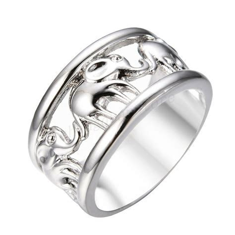 Silver Lucky Elephant Wedding Ring 10KT White Gold Filled